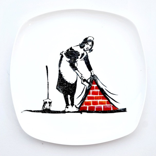 """Banksy on my plate! Made from nori and apple. What does this Banksy piece of the maid mean to you?"""